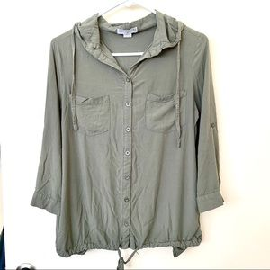 Cotton on button down hoodie shirt